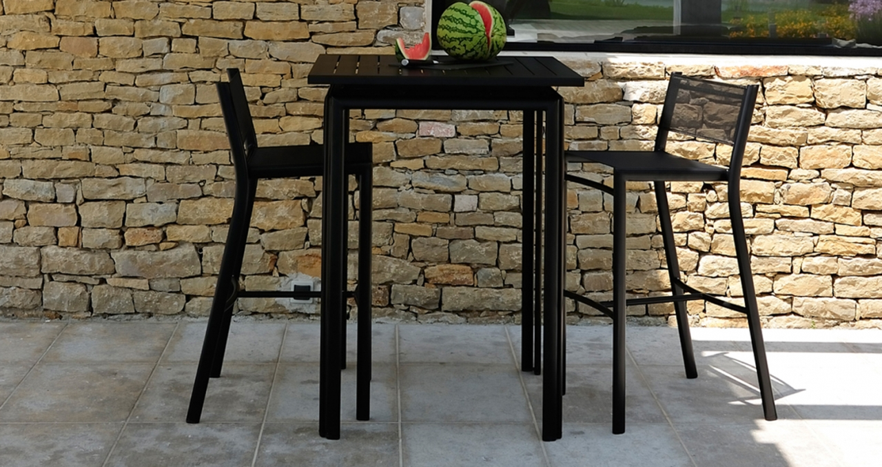 mobilier coulomb tabouret de terrasse m tal costa. Black Bedroom Furniture Sets. Home Design Ideas